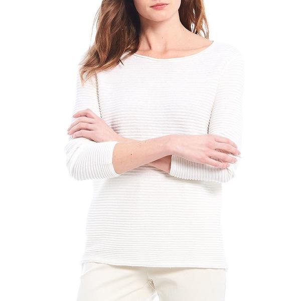 エイリーンフィッシャー レディース Tシャツ トップス Organic Linen Cotton Blend Bateau Neck Top White