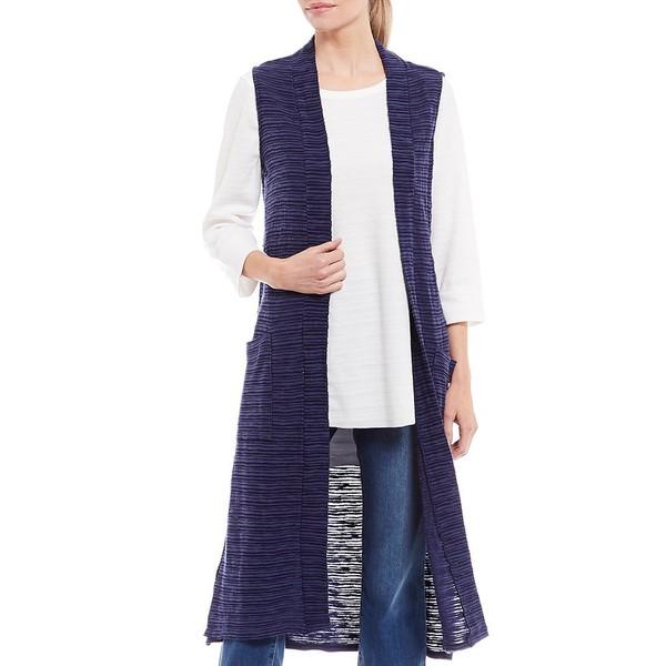 ウェストボンド レディース ジャケット&ブルゾン アウター Two-Pocket Sleeveless Open Front Duster Vest Evening Blue