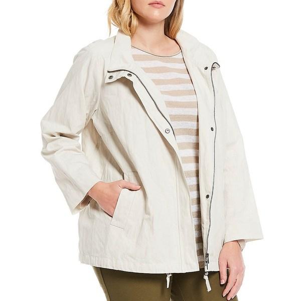エイリーンフィッシャー レディース ジャケット&ブルゾン アウター Plus Size Organic Cotton Steel Stand Collar A-Line Jacket Bone