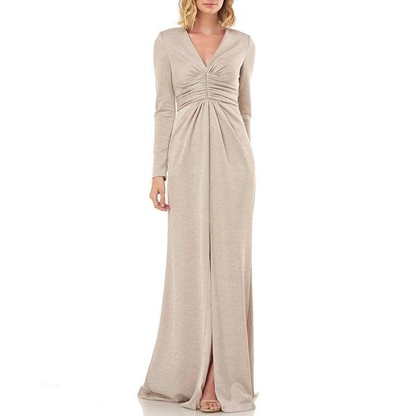 ケイアンガー レディース ワンピース トップス Kayla Lurex Metallic Knit Long Sleeve Rouched Gown Champagne