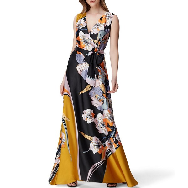 タハリエーエスエル レディース ワンピース トップス Petite Size Floral Print V-Neck Tie Waist Charmeuse Maxi Dress Black Floral Multi