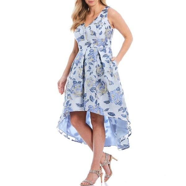 エリザジェイ レディース ワンピース トップス Plus Size Sleeveless Organza Burnout Floral Print Hi-Low Hem Dress Perri