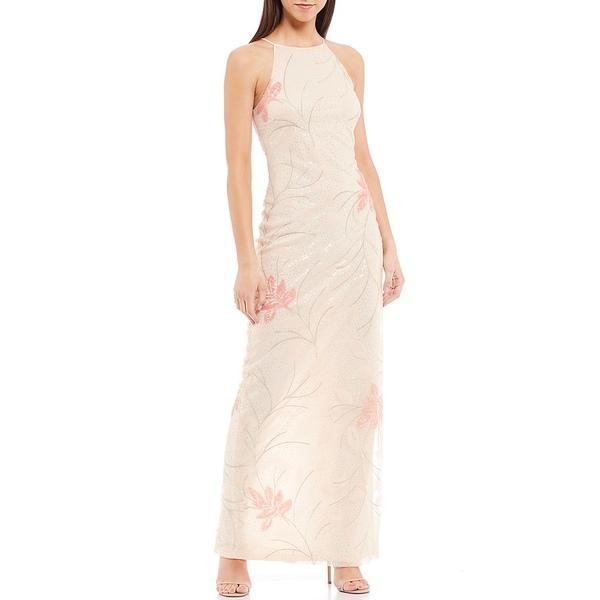 バッジェリーミシュカ レディース ワンピース トップス Naye Halter Neck Floral Sequin Tulle Embellished Gown Light Blush