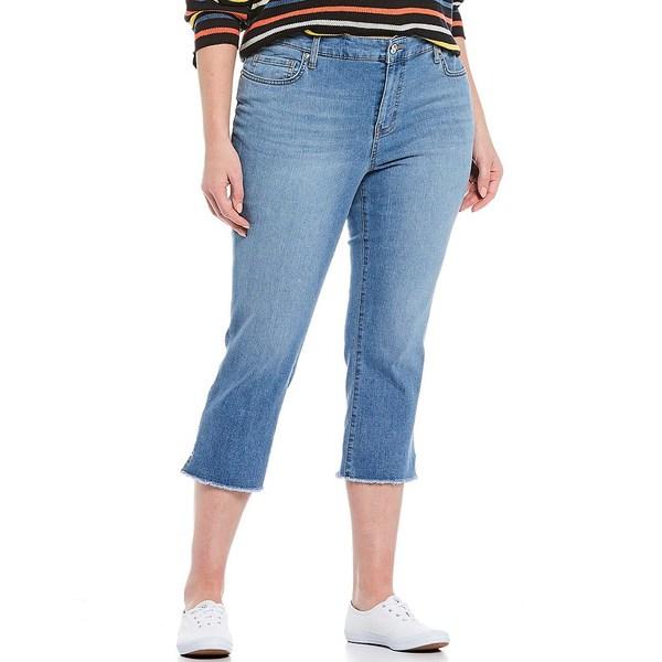 コードブリュー レディース カジュアルパンツ ボトムス Plus Size Classic Frayed Hem Capri Jeans Shirley