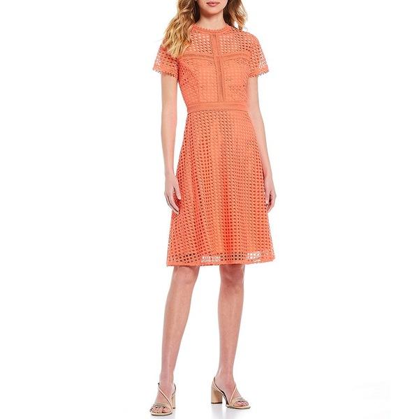 アントニオメラニー レディース ワンピース トップス Stella Short Sleeve Lace Scallop Trim A-Line Dress Clementine