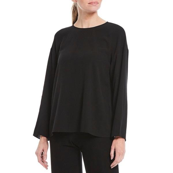 エイリーンフィッシャー レディース シャツ トップス Silk Georgette Crepe Round Neck Long Sleeve Top Black