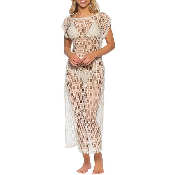 イザベラローズ レディース ワンピース トップス Milan Short Sleeve Midi Crochet Cover Up Dress Gold