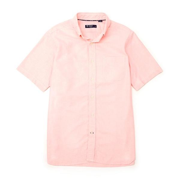 クレミュ メンズ シャツ トップス Short-Sleeve Solid Oxford Woven Shirt Orange