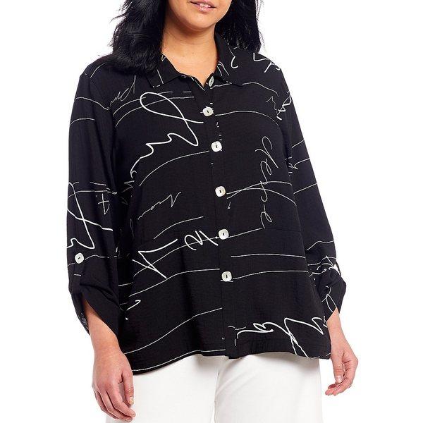 ジョンマーク レディース シャツ トップス Plus Size Abstract Print Roll-Tab Sleeve Button Front Crinkle Blouse Black/White