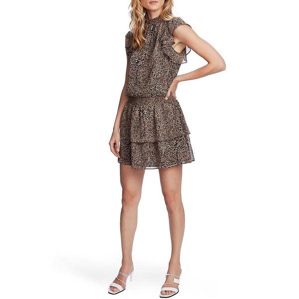 ワンステート レディース ワンピース トップス Flutter Sleeve Smocked Leopard Print Tiered Dress Caramel Multi