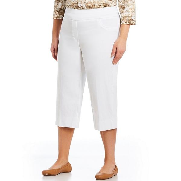 ルビーロード レディース カジュアルパンツ ボトムス Plus Size Pull-On Solar Millennium Capri Pants White