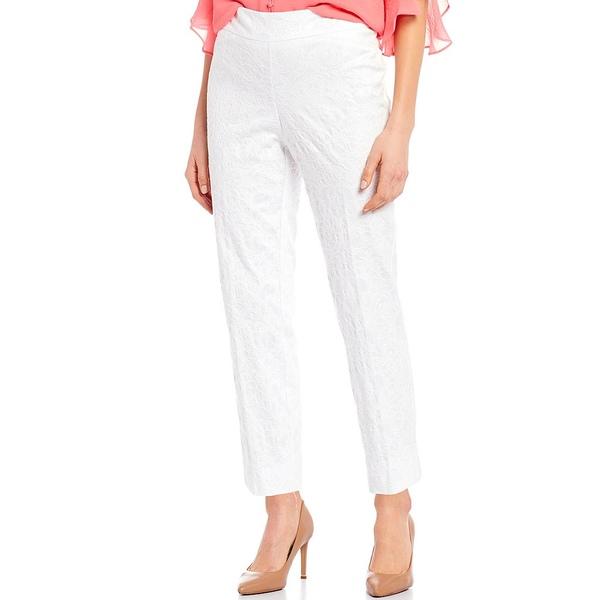 インベストメンツ レディース カジュアルパンツ ボトムス the PARK AVE fit Textured Novelty Pull-On Classic Ankle Pants White