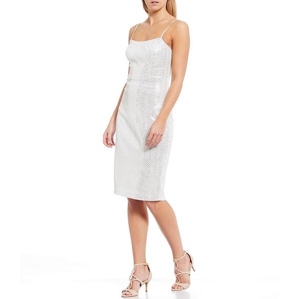 ヴィンスカムート レディース ワンピース トップス Sleeveless Textured Sequin Sheath Dress Ivory