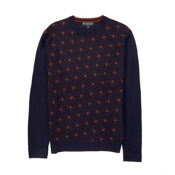 ハートシャファネールマークス メンズ ニット&セーター アウター Crew Argyle Merino Wool Blend Sweater Dark Blue Heather
