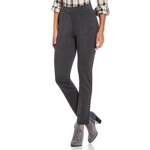 イントロ レディース カジュアルパンツ ボトムス Petite Size Bella Solid Double Knit Slim Her Straight Leg Pants Charcoal