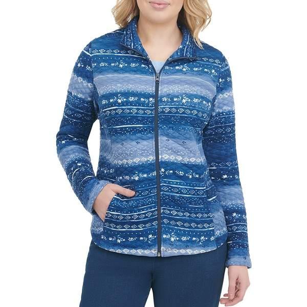 アリソンダーレイ レディース ジャケット&ブルゾン アウター Petite Size Geo Multi Stripe Quilted Ponte Knit Zip Front Jacket Denim Multi Twist