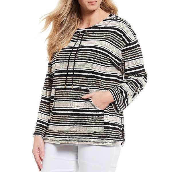 ルビーロード レディース ニット&セーター アウター Plus Size Pebbled Striped Drawstring Round Neck Sweater Top Black Multi