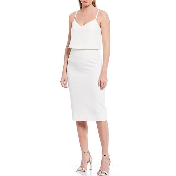 ドレスザポプレーション レディース ワンピース トップス Dress The Population Alondra V-Neck Sleeveless Blouson Midi Dress Off White