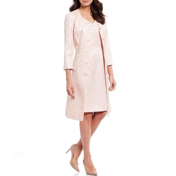 ジョン・メイヤー レディース ワンピース トップス V-Neck Jacquard Lacy Jacquard Topper 2-Piece Dress Suit Blush