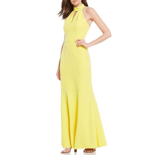 エリザジェイ レディース ワンピース トップス Scuba Halter Neck Key Hole Cutout Sleeveless Gown Chartreuse