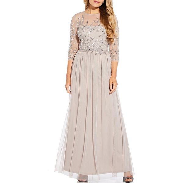 アドリアナ パペル レディース ワンピース トップス Beaded Bodice Tulle Skirt 3/4 Sleeve Gown Marble