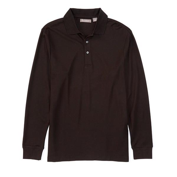 クレミュ メンズ ポロシャツ トップス Daniel Cremieux Signature Luxury Pique Long-Sleeve Polo Shirt Black