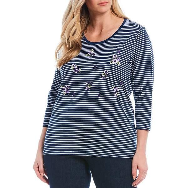 アリソンダーレイ レディース Tシャツ トップス Plus Size Stripe Print Floral Embroidery 3/4 Sleeve Knit Jersey Top Denim Lilac Floral