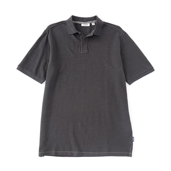 ロウン メンズ シャツ トップス Big & Tall Short-Sleeve Slub Pique Organic Cotton Polo Medium Charcoal