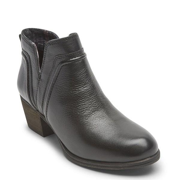 ロックポート レディース ブーツ&レインブーツ シューズ Women's Cobb Hill Anisa Leather V-Cut Block Heel Booties Black