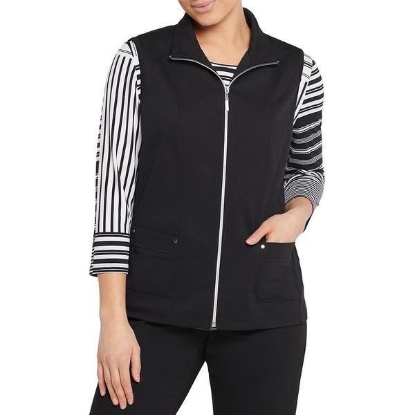 アリソンダーレイ レディース ジャケット&ブルゾン アウター Petite Size San Remo Knit Zipper Front Vest Black