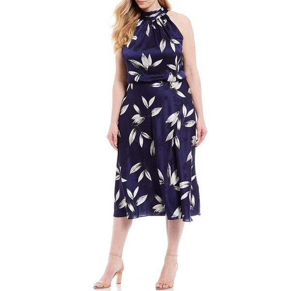 アドリアナ パペル レディース ワンピース トップス Plus Size Jacquard Floral Printed Halter Neck Sleeveless Blouson Midi Dress Navy Ivory