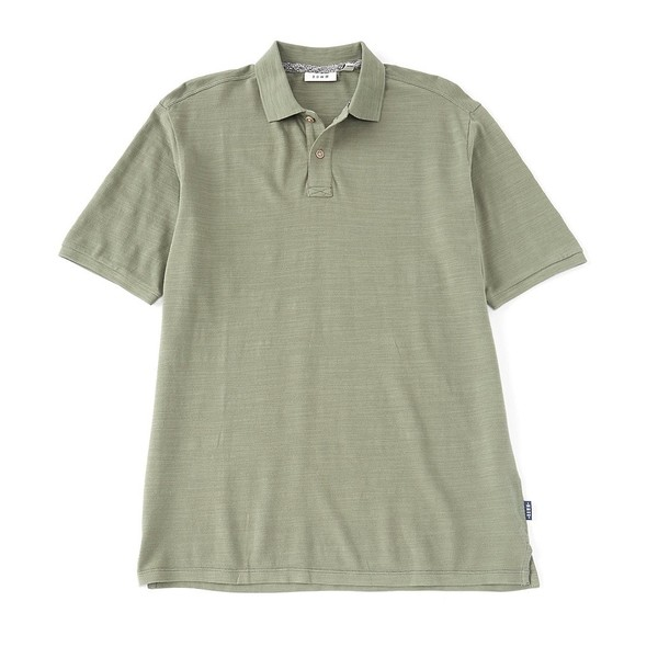 ロウン メンズ ポロシャツ トップス Short-Sleeve Slub Pique Organic Cotton Polo Balsam Green