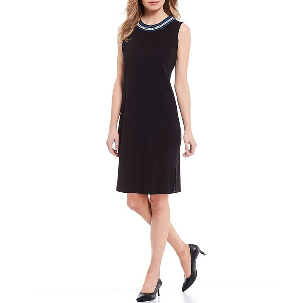ミソーク レディース ワンピース トップス Sleeveless Crochet Trim Dress Black/Harbor Blue/White