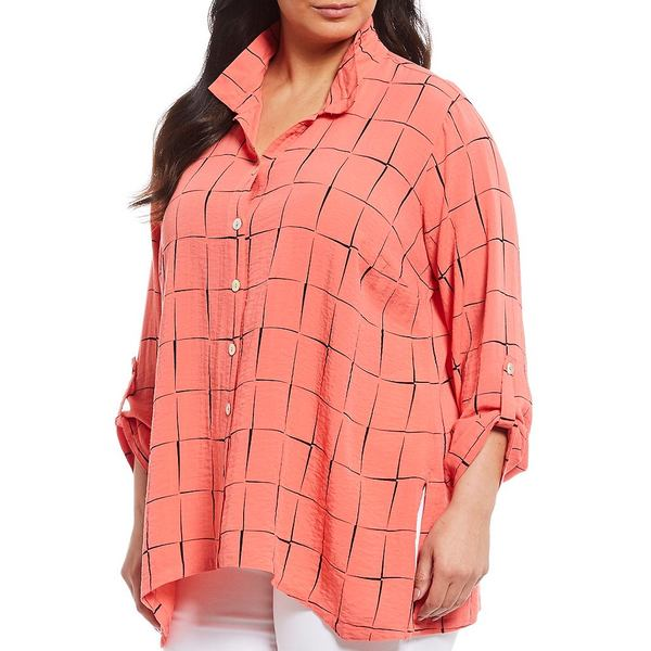 ジョンマーク レディース シャツ トップス Plus Size Crinkle Printed Button Front Wire Collar Handkerchief Hem Tunic Coral