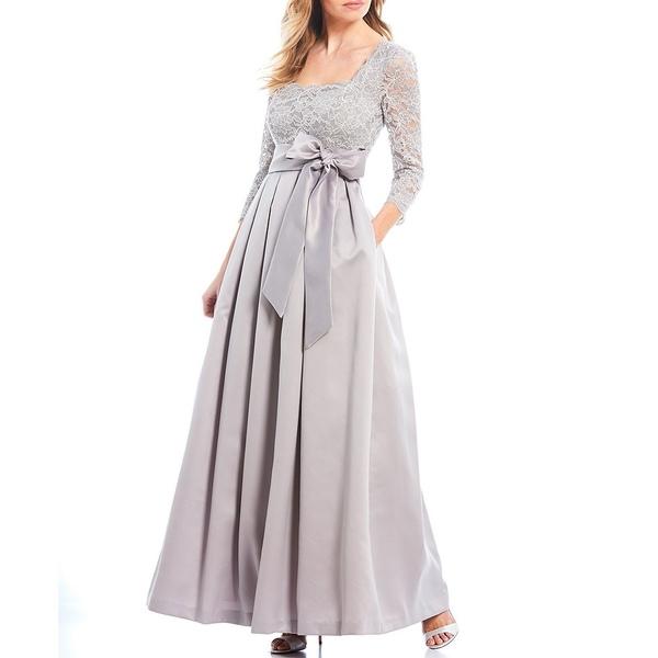 ジェシカハワード レディース ワンピース トップス Square Neck Tie Waist Glitter Lace Bodice Satin Ball Gown Grey