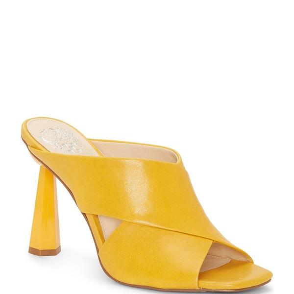 ヴィンスカムート レディース サンダル シューズ Averessa Leather Sculpted Heel Slides Golden Mustard