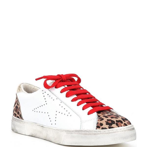 スティーブ マデン レディース スニーカー シューズ Steven by Steve Madden Rezza Leopard Leather and Suede Star Lace Up Sneakers White Leopard