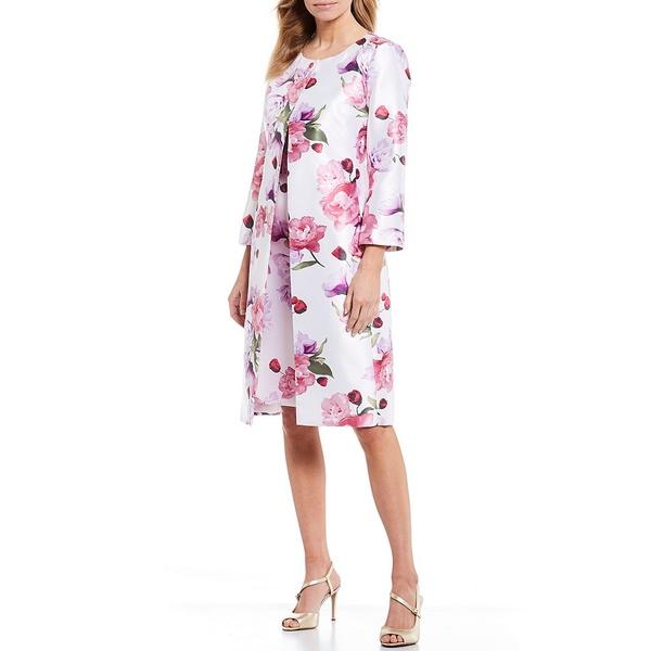 ジョン・メイヤー レディース ワンピース トップス Floral Printed Mikado Jewel Neck 3/4 Sleeve Coat 2-Piece Dress Suit Pink