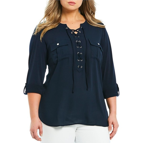ピーターニガード レディース Tシャツ トップス Plus Size Mixed Media Lace Up V-Neck Roll-Tab Sleeve Shirt Deep Navy