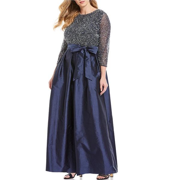 ピサッロナイツ レディース ワンピース トップス Plus Size 3/4 Sleeve Beaded Bodice Taffeta Gown Navy