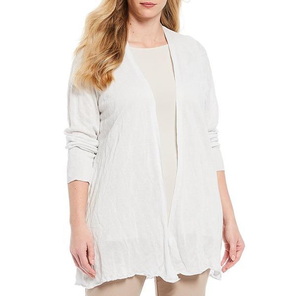エイリーンフィッシャー レディース ニット&セーター アウター Plus Size Tencel & Metal Long Sleeve Open Front Cardigan Ivory