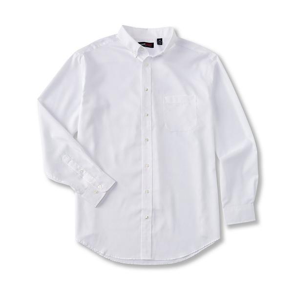 ランドツリーアンドヨーク メンズ シャツ トップス TravelSmart Big & Tall Long-Sleeve Solid Dobby Sportshirt White