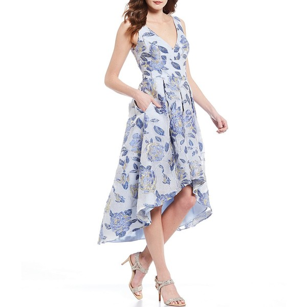 エリザジェイ レディース ワンピース トップス Sleeveless Organza Metallic Burnout Floral Print Hi-Low Hem Dress Periwinkle