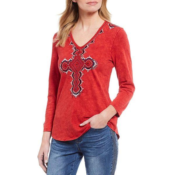 レバ レディース Tシャツ トップス Embroidered Cross V-Neck 3/4 Sleeve Cotton Tee Tomato Red