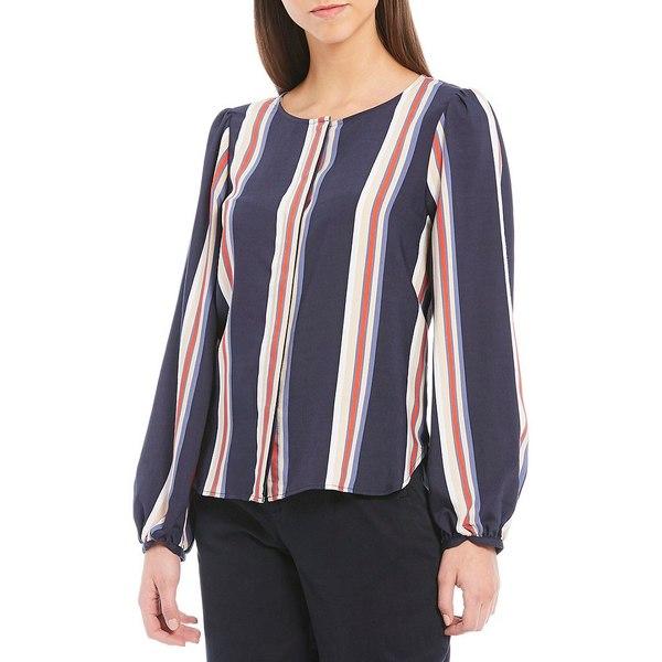 クレミュ レディース シャツ トップス Cora Stripe Button Front Long Sleeve Blouse Navy/Ivory/Cherry