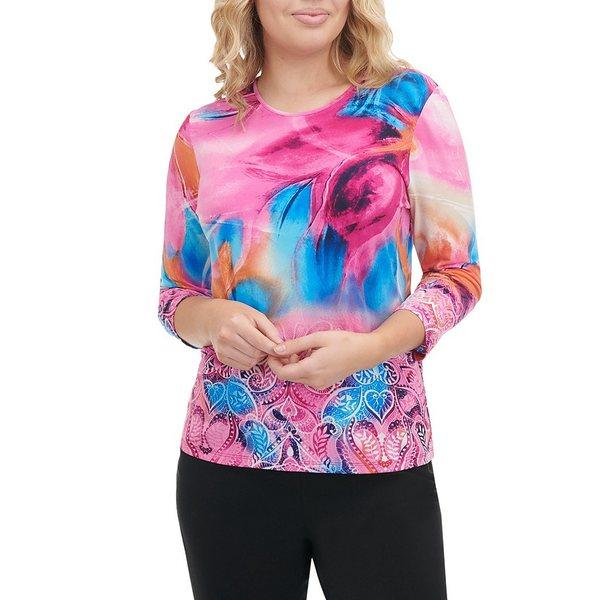 アリソンダーレイ レディース Tシャツ トップス Leaf Paint Print Knit Jersey 3/4 Sleeve Top Leaf Paint