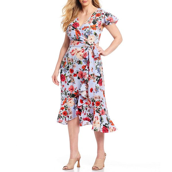 ヴィンスカムート レディース ワンピース トップス Plus Size Short Sleeve Floral Print Wrap Tulip Hi-Low Ruffle Hem Midi Dress Cornflower