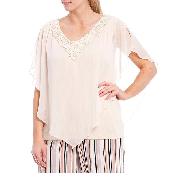 アイエヌスタジオ レディース シャツ トップス Plus Size Crochet V-Neck Split Elbow Sleeve Yoryu Top Blush