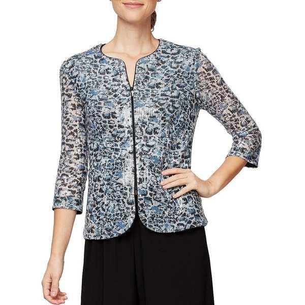 アレックスイブニングス レディース ワンピース トップス Cheetah Print Sequin 3/4 Sleeve Zip Front Jacket Black/Hydrangea