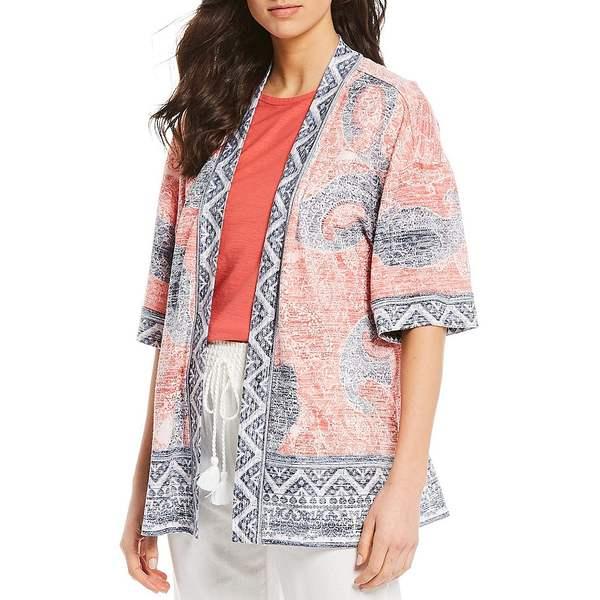 ウェストボンド レディース ニット&セーター アウター Paisley Elbow Sleeve Open Front Kimono Cardigan Paisley Border